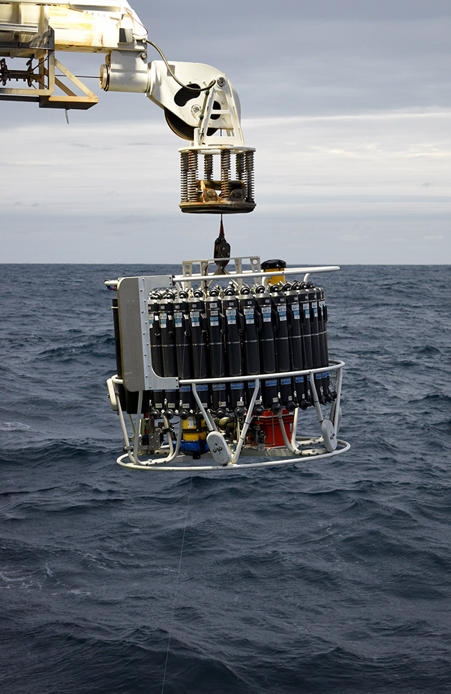 The deep sea camera is attached to the bottom of the CTD which collects water at different depths for analysis.  Photo: So Kawaguchi